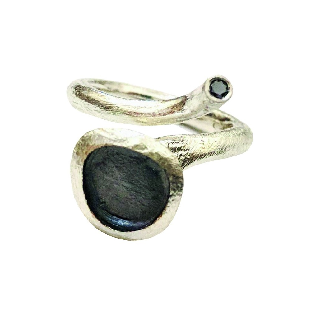 """Anello in argento """"Seed"""" bianco"""