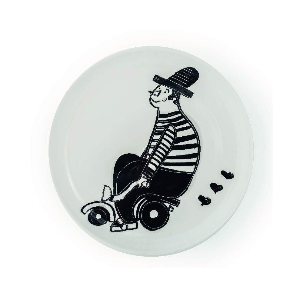 "Piatto dipinto a mano in ceramica ""Piatto Black&White Stories""."